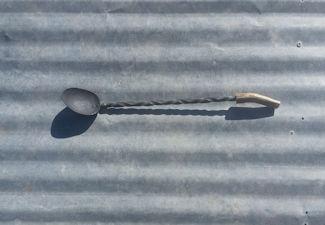 Handmade steel BBQ spoon with twist design