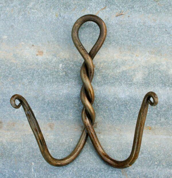 Handmade double hook with twist