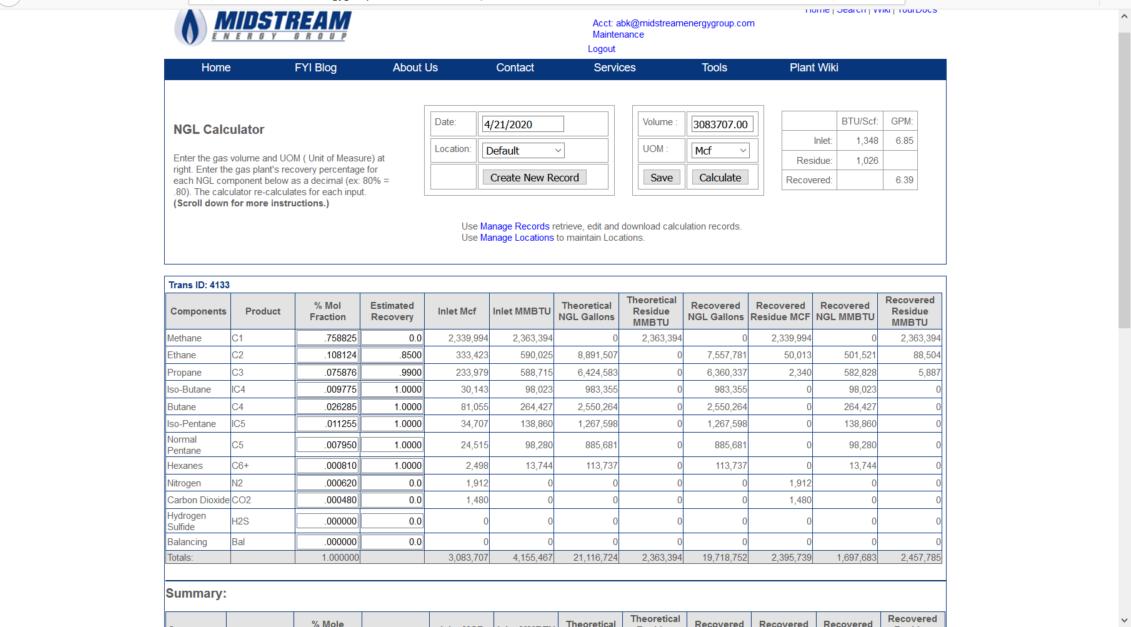 NGL supply tool screenshot