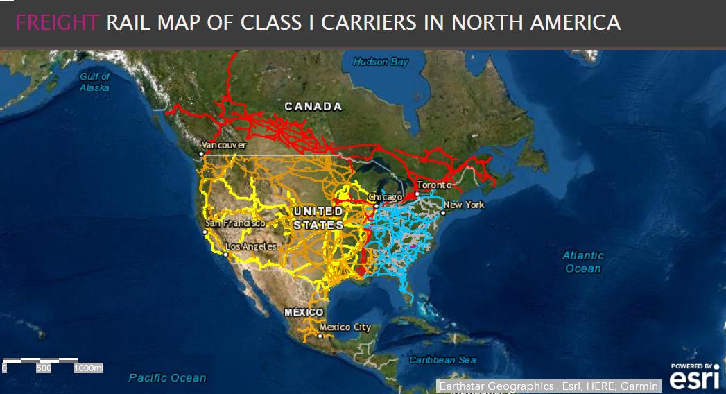 North America Freight Railroad Map