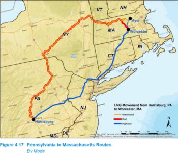 LNG ry rail PA to MA Routes