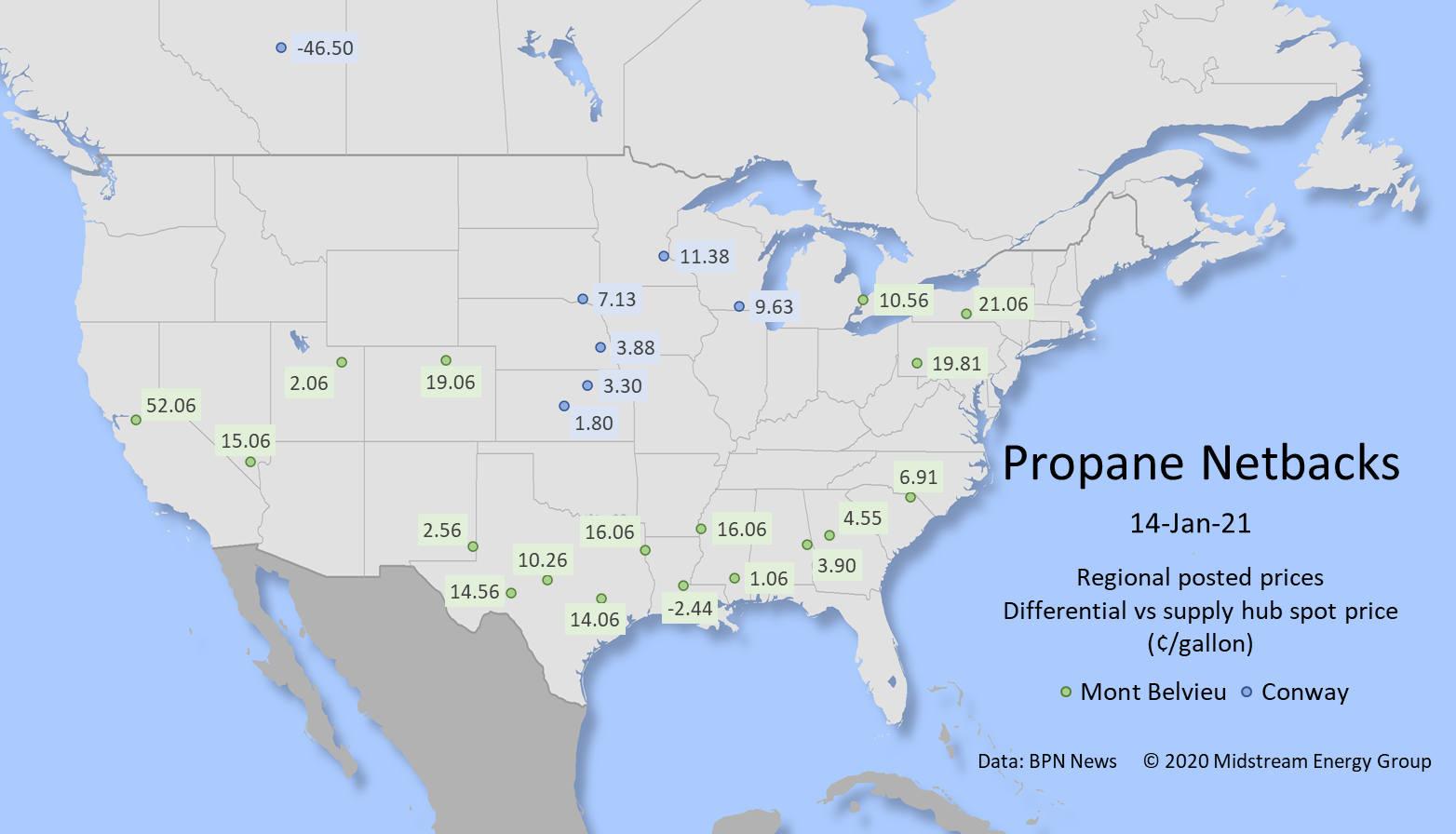 Compares propane prices in regional markets to supply hub prices