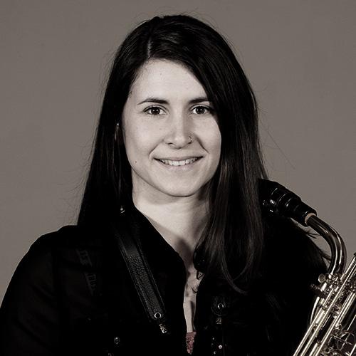 portrait of She Funk saxophone player, Allie Edge