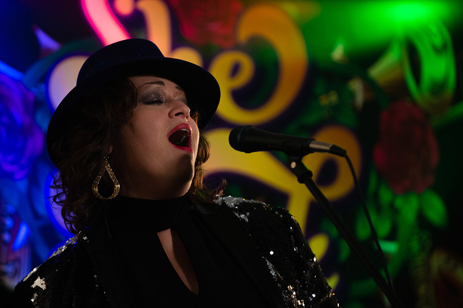 She Funk lead singer performing live