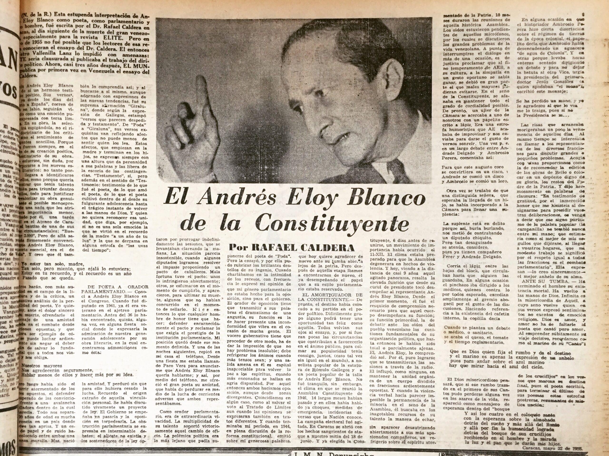 1958. Febrero, 7. El Mundo: Andrés Eloy Blanco: El amortiguador de la Constituyente