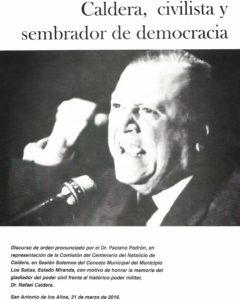 Caldera, civilista y sembrador de democracia (Paciano Padrón)