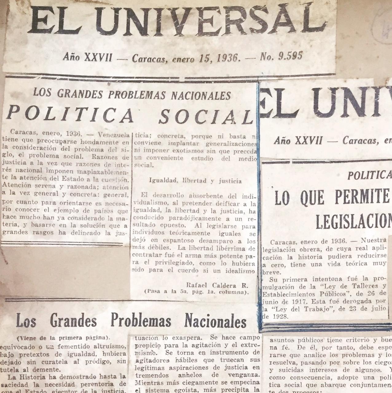 1936. Enero, 15. El Universal: Política Social (Los grandes problemas nacionales)
