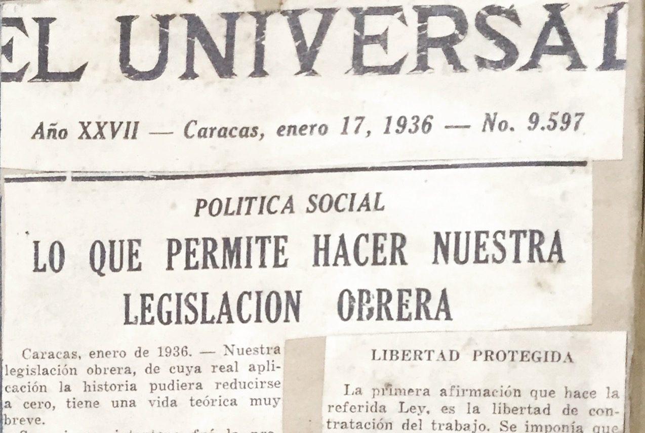 1936. Enero, 17. El Universal: Lo que permite hacer nuestra legislación obrera