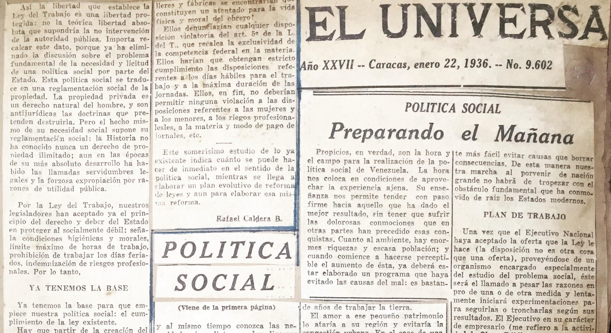 1936. Enero, 22. El Universal: Preparando el mañana
