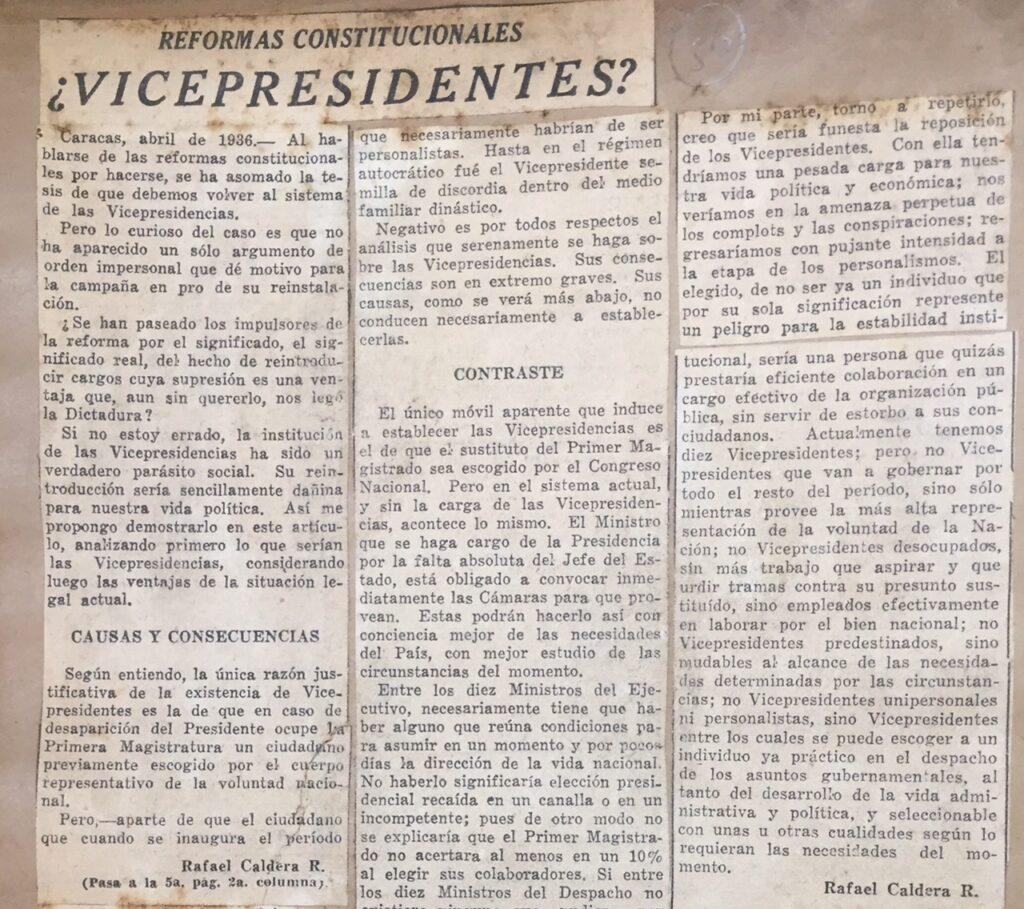 1936. Abril, 12. El Universal: ¿Vicepresidentes? (Reformas constitucionales)