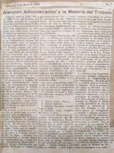 1936. Abril, 2. Atención administrativa a la materia del trabajo