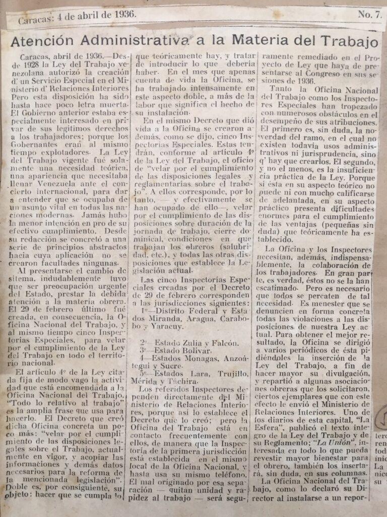 1936. Abril, 4. La Unión: Atención administrativa a la materia del trabajo