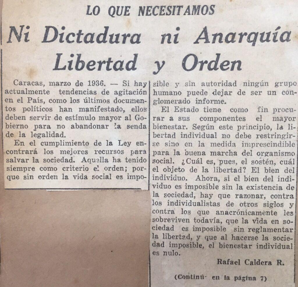 1936. Abril, 2. El Universal: Ni dictadura ni anarquía: Libertad y Orden (Lo que necesitamos)
