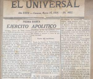 1936. Marzo, 14. Ejército apolítico