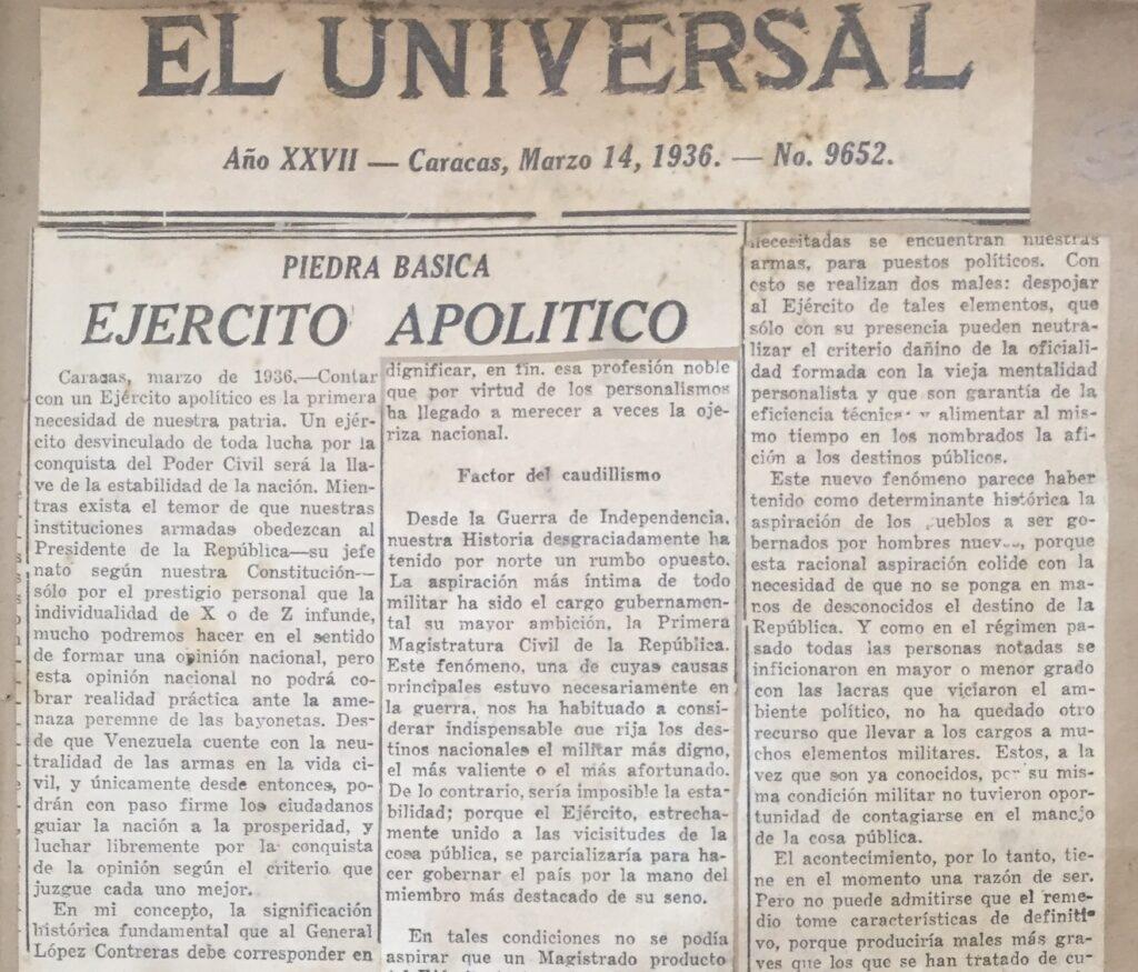 1936. Marzo, 14. El Universal: Ejército Apolítico (Piedra básica)