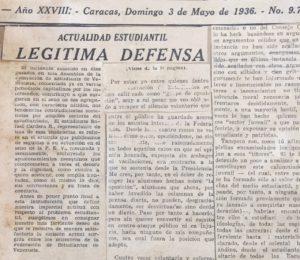 1936. Mayo, 3. Legítima defensa