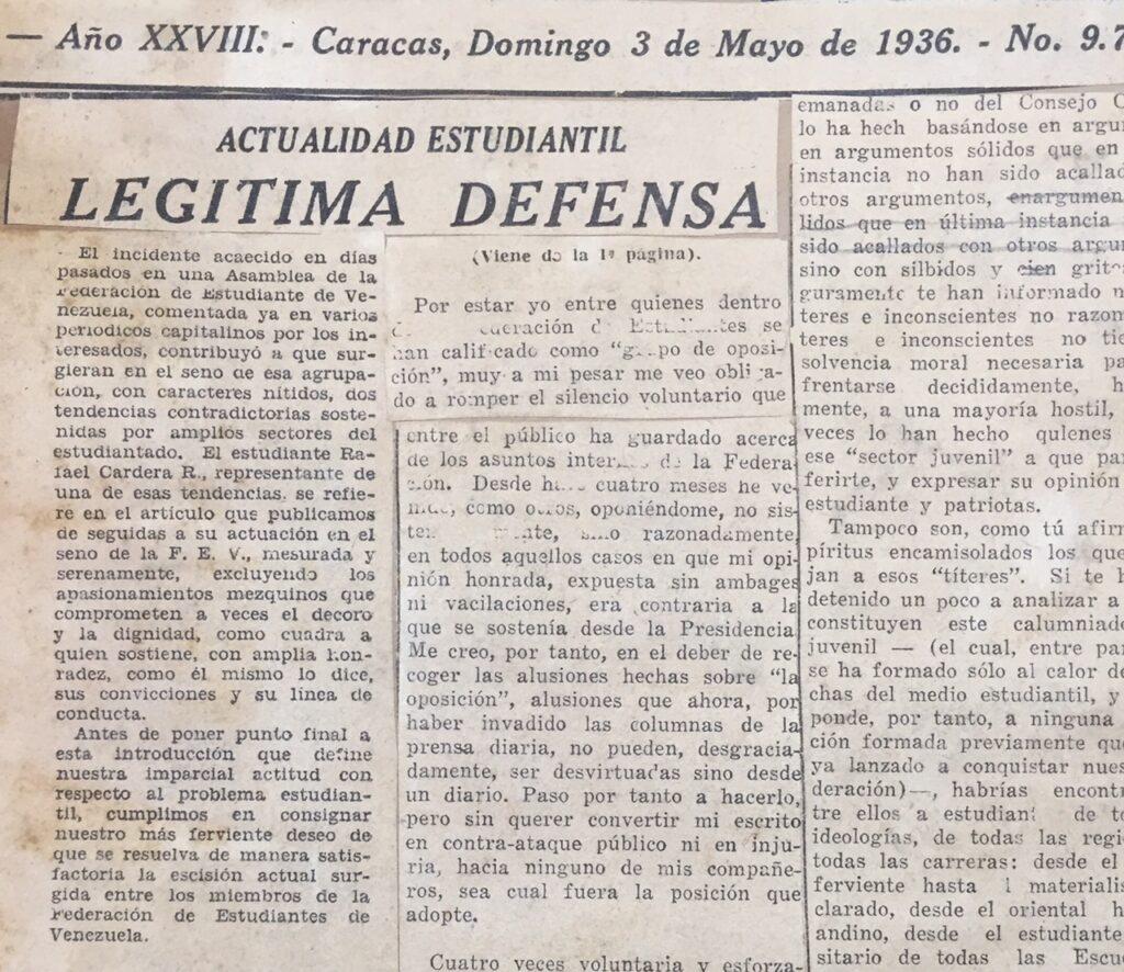 1936. Mayo, 3. El Universal: Legítima defensa (Actualidad estudiantil)