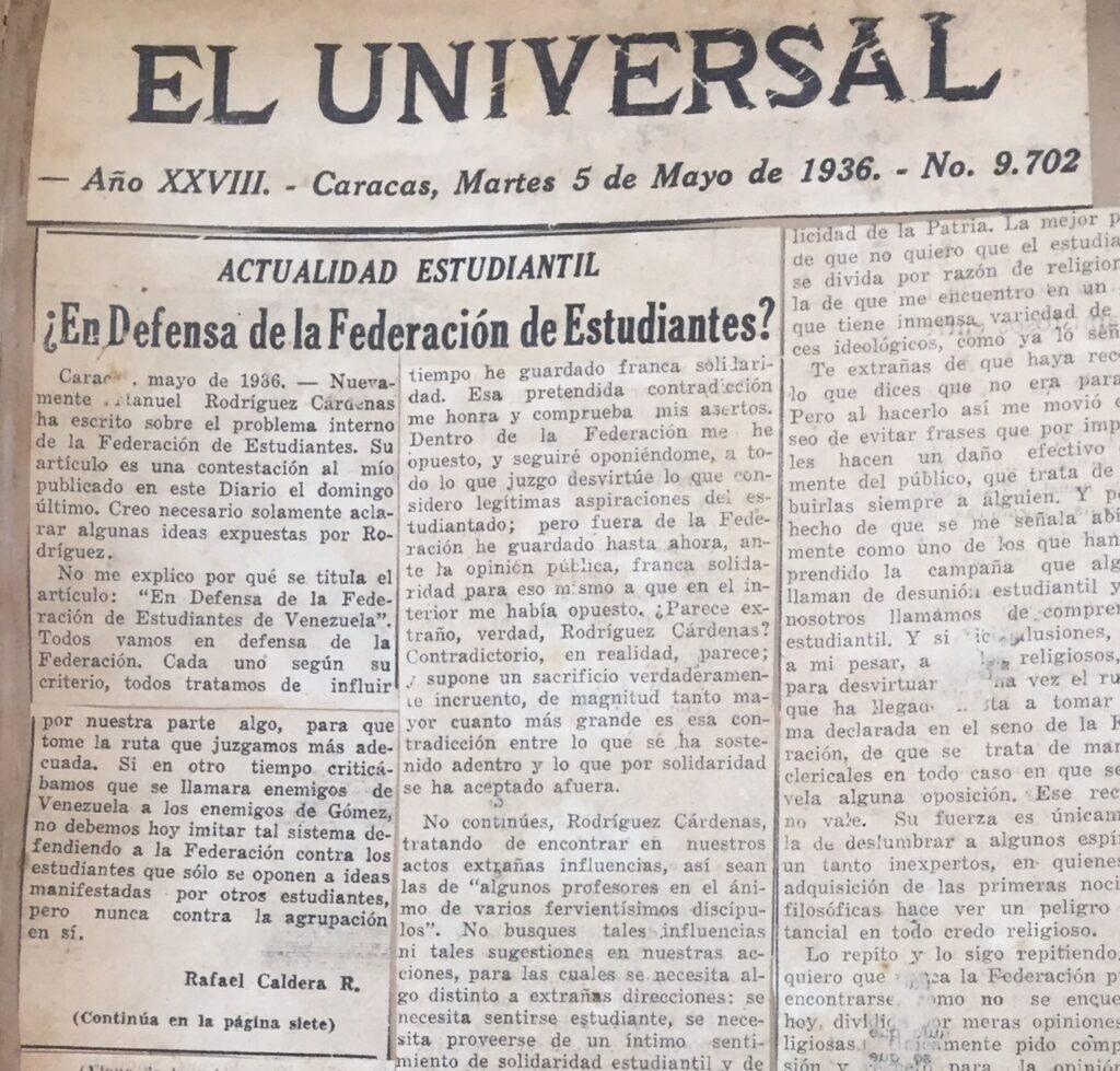 1936. Mayo, 5. El Universal: ¿En defensa de la Federación de Estudiantes? (Actualidad estudiantil)