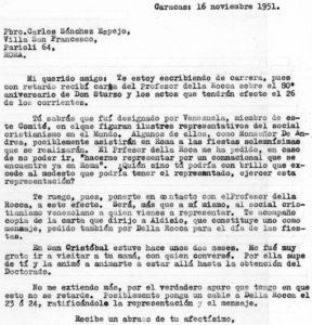 1951. Noviembre, 16. Carta a Carlos Sánchez Espejo.
