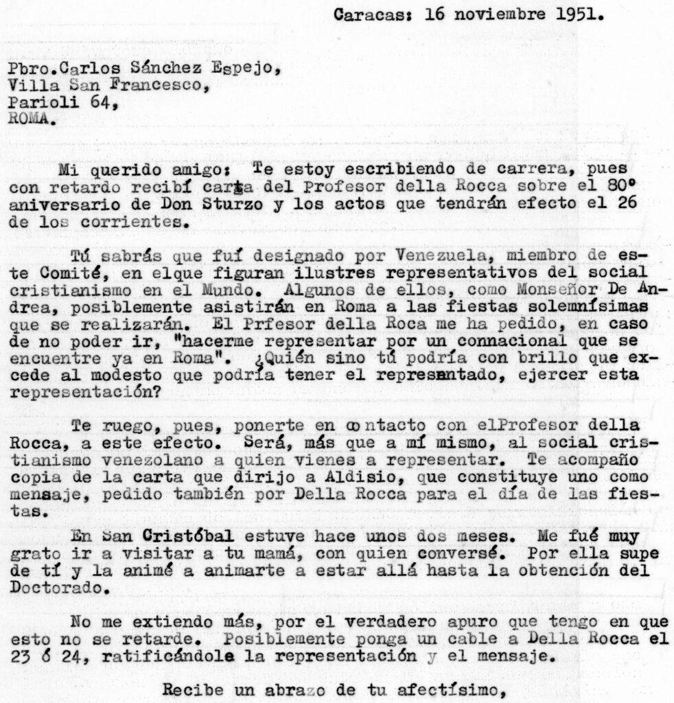 1951. Noviembre, 16. Carta de Rafael Caldera al presbítero Carlos Sánchez Espejo