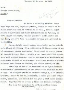 1955. Marzo, 26. Carta a Horacio Moros Ghersi.