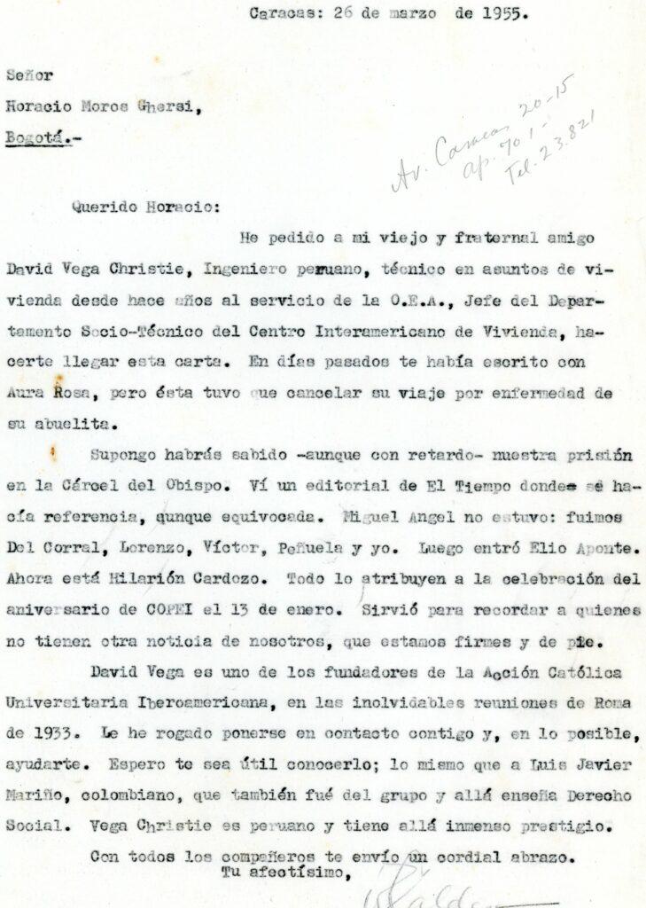 1956. Marzo, 26. Carta de Rafael Caldera a Horacio Moros Ghersi