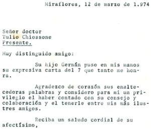 1974. Marzo, 12. Respuesta a Tulio Chiossone.