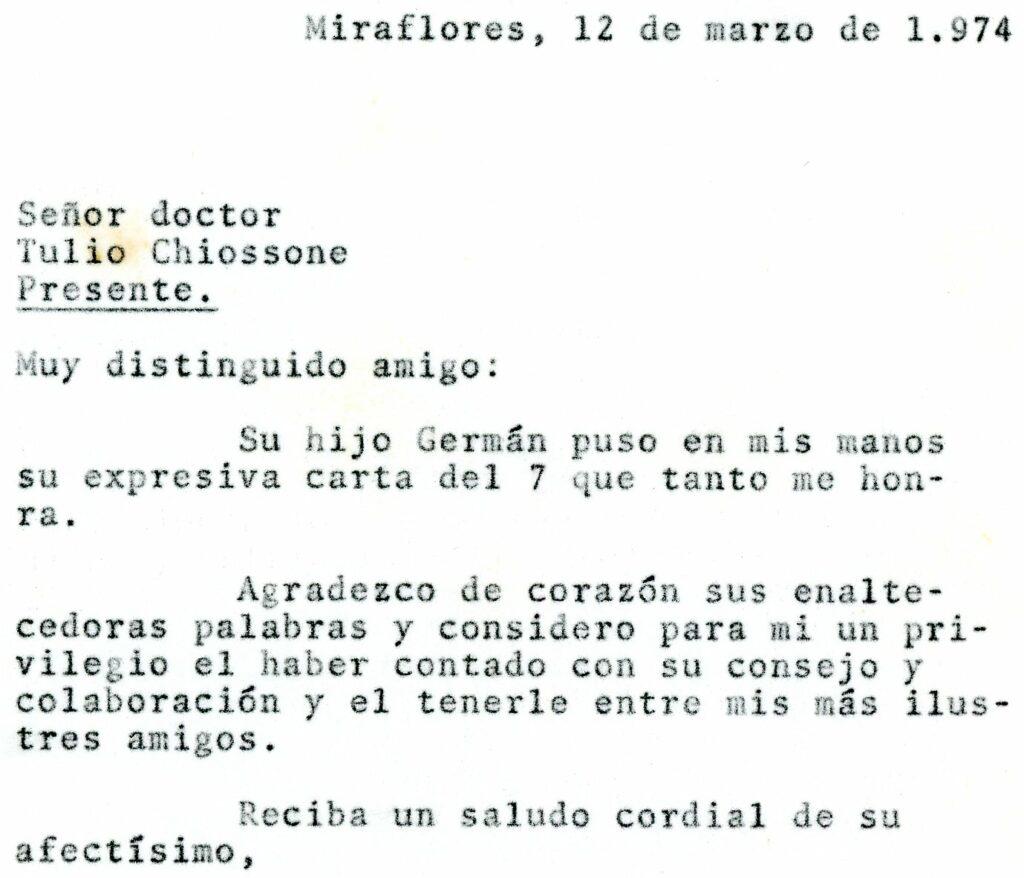 1974. Marzo, 12. Respuesta de Rafael Caldera a Tulio Chiossone
