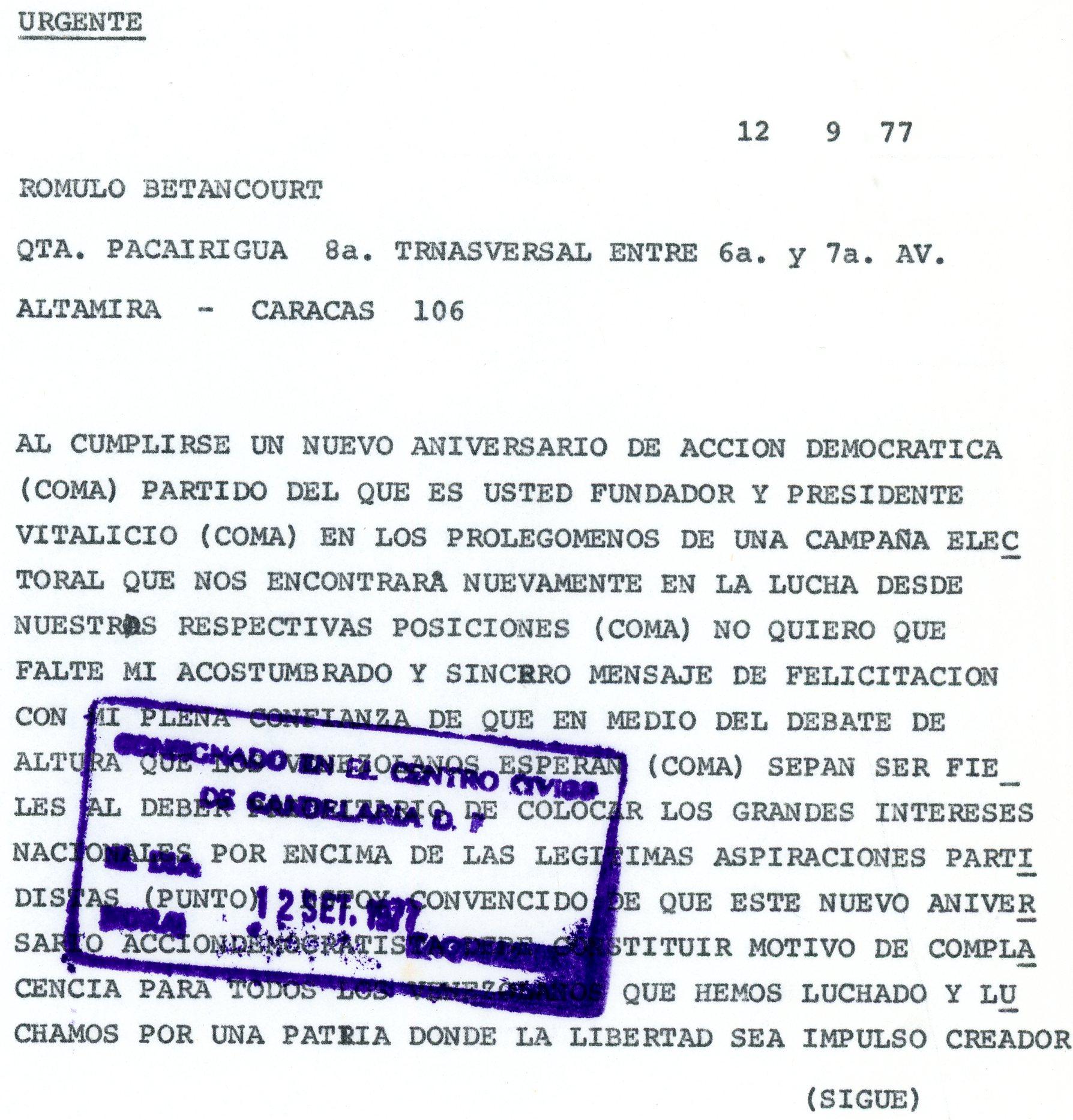 1977. Septiembre, 12. Telegrama de Rafael Caldera a Rómulo Betancourt