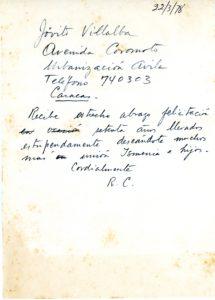 1978. Marzo, 22. Telegrama de felicitación a Jóvito Villalba.