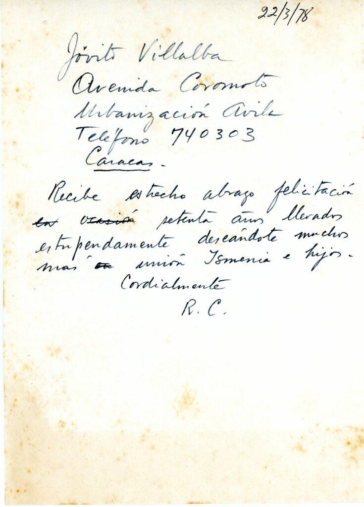 1978. Marzo, 22. Borrador de telegrama de felicitación a Jóvito Villalba