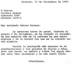 1983. Diciembre, 14. Respuesta a Pynchas Brener.