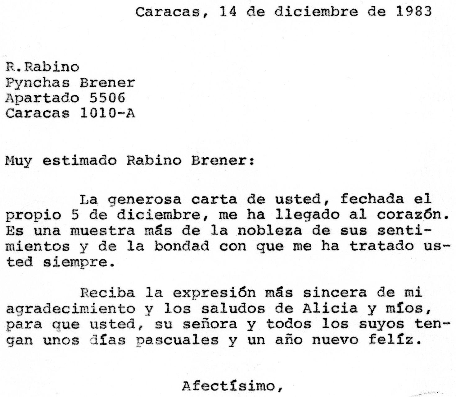1983. Diciembre, 14. Respuesta de Rafael Caldera al rabino Pynchas Brener