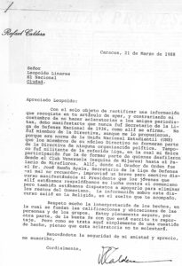 1988. Marzo, 21. Aclaratoria a Leopoldo Linares.