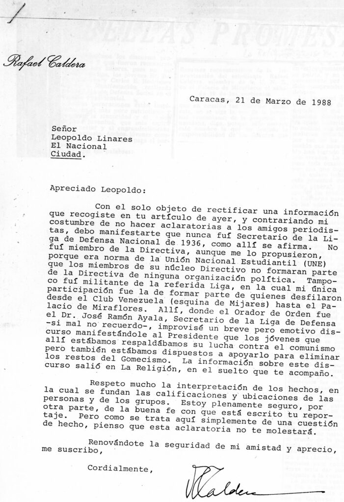 1988. Marzo, 21. Aclaratoria al periodista Leopoldo Linares