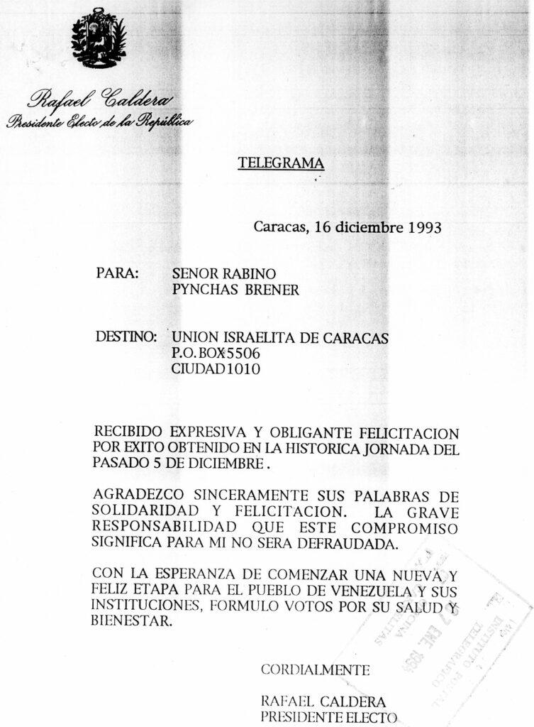 1993. Diciembre, 16. Telegrama de respuesta al rabino Pynchas Brener