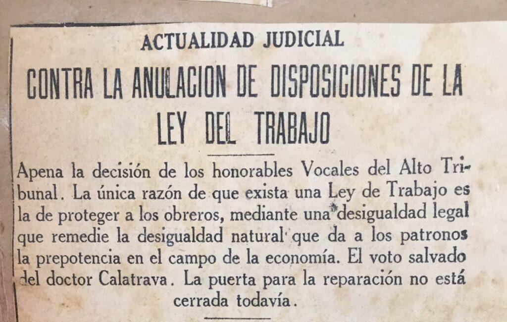 1938. Enero, 24. El Universal: Contra la anulación de disposiciones de la Ley del Trabajo