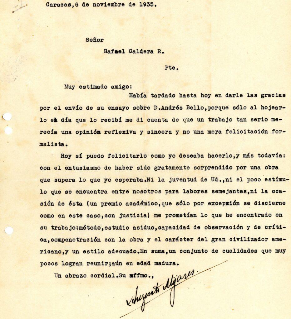 1935. Noviembre, 6. Carta de Augusto Mijares a Rafael Caldera