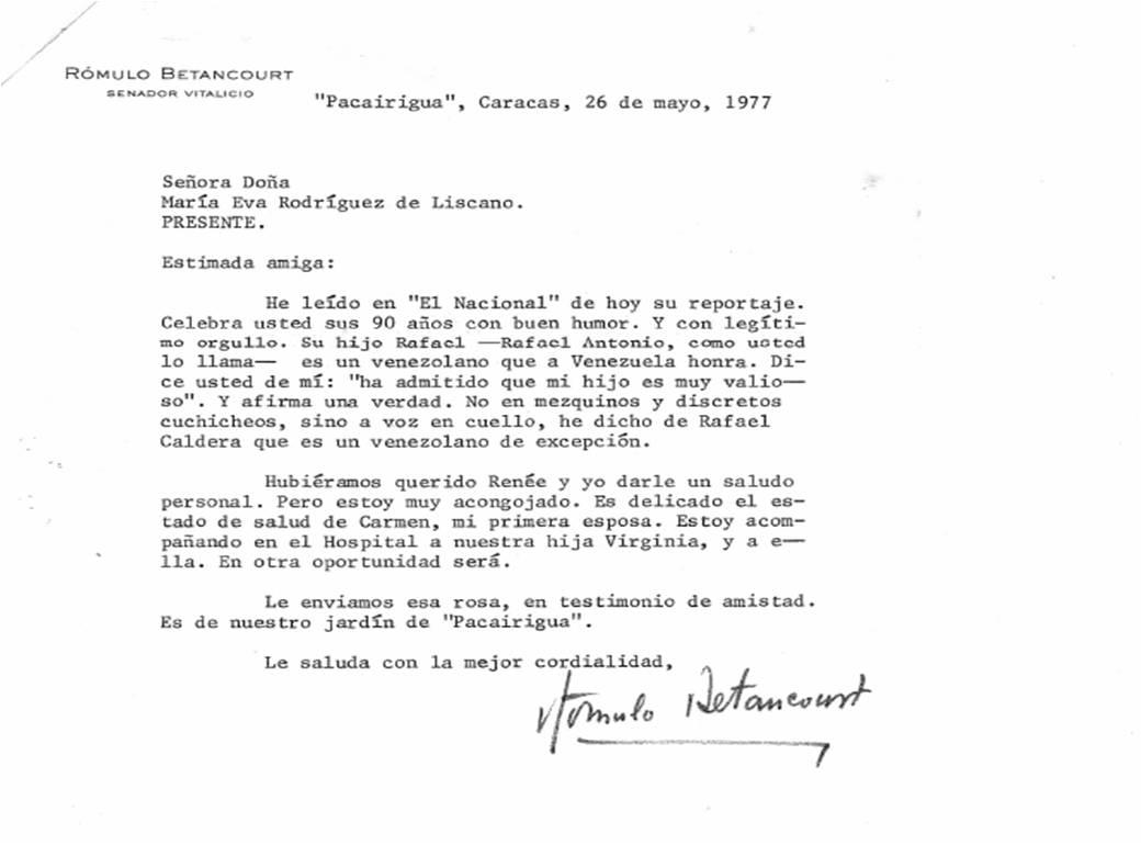 1977. Mayo, 26. Carta de Rómulo Betancourt a María Eva Rodríguez de Liscano