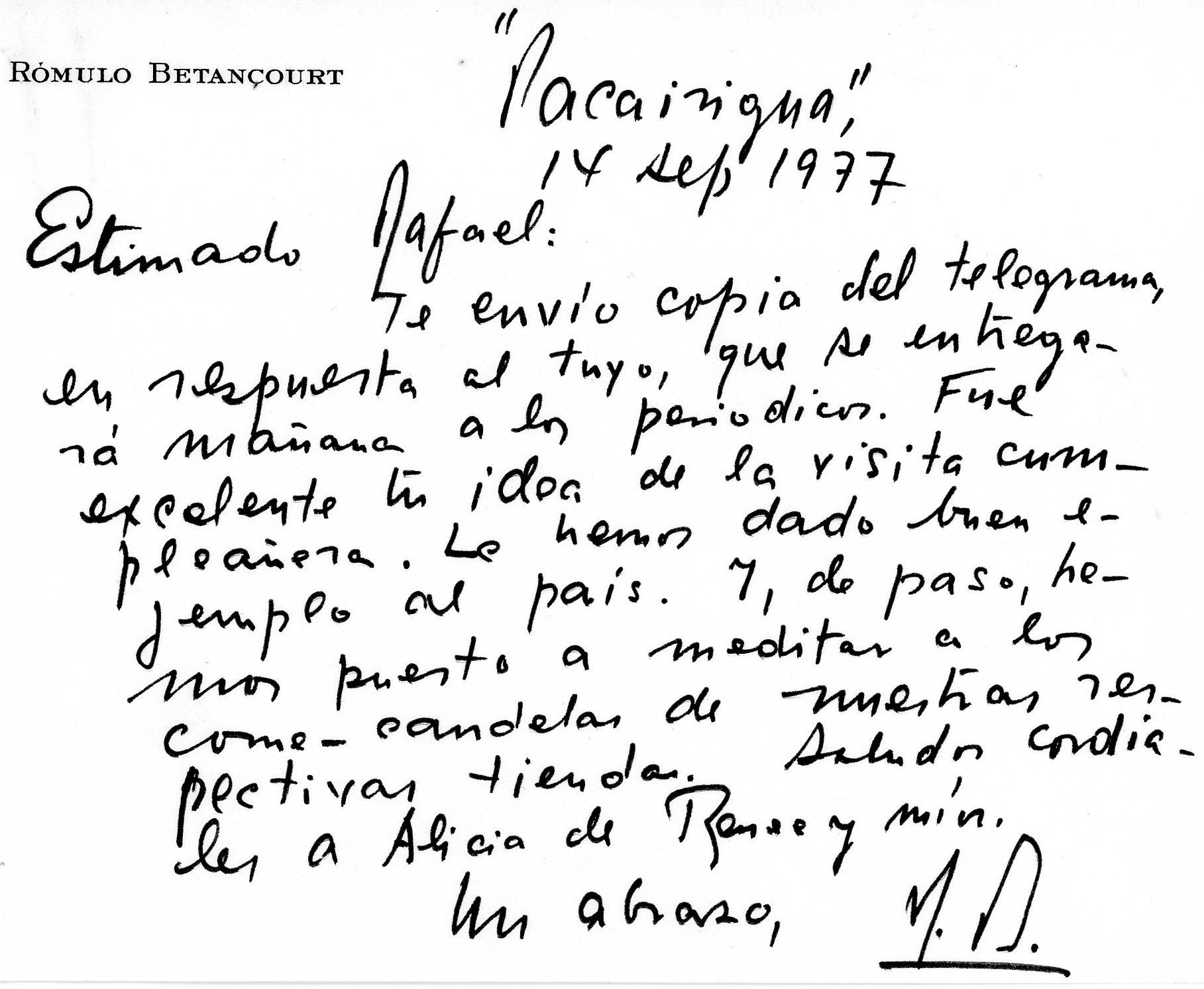 1977. Junio, 14. Respuesta de Rómulo Betancourt a telegrama de felicitación
