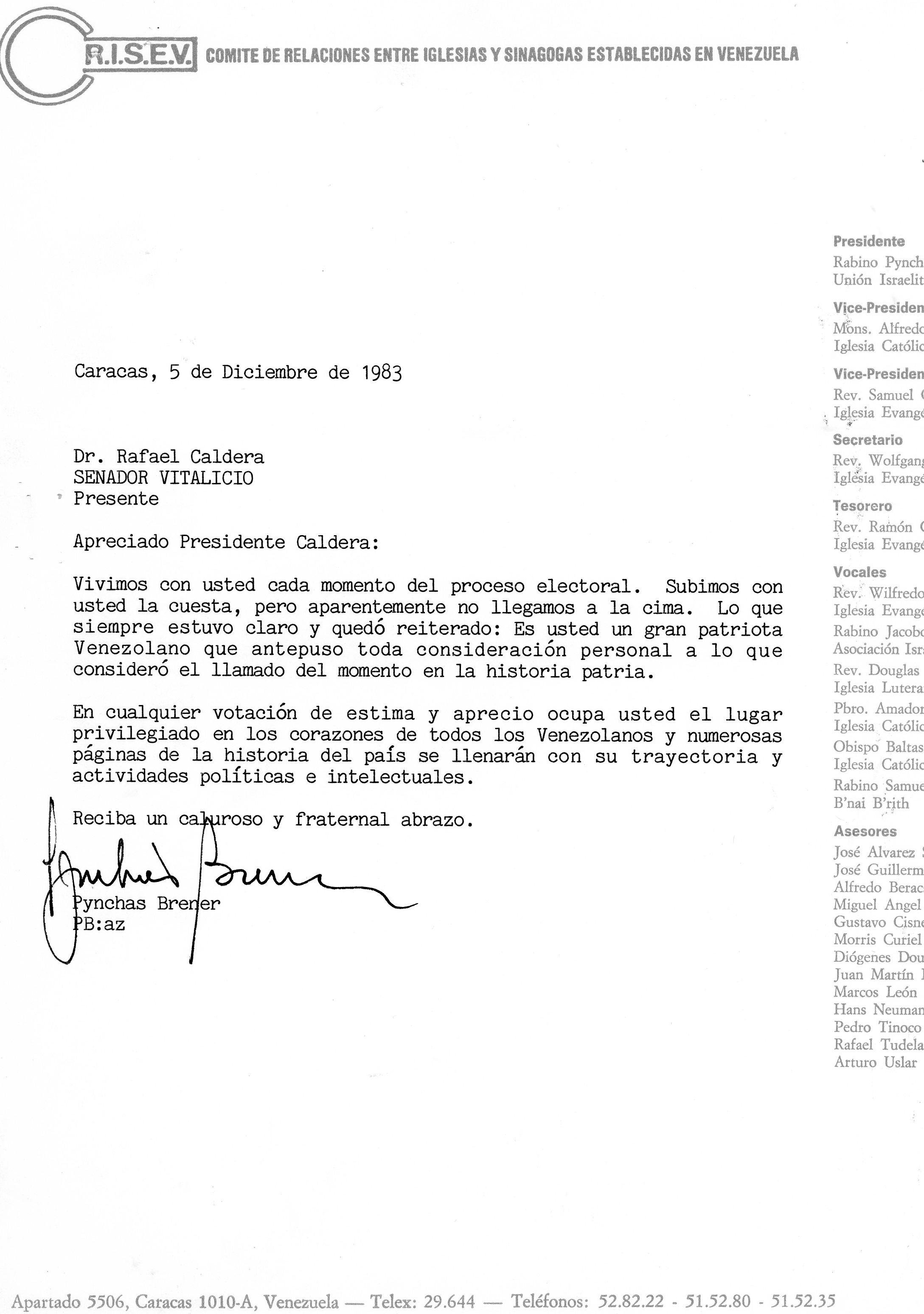 1983. Diciembre, 5. Carta del rabino Pynchas Brener a Rafael Caldera