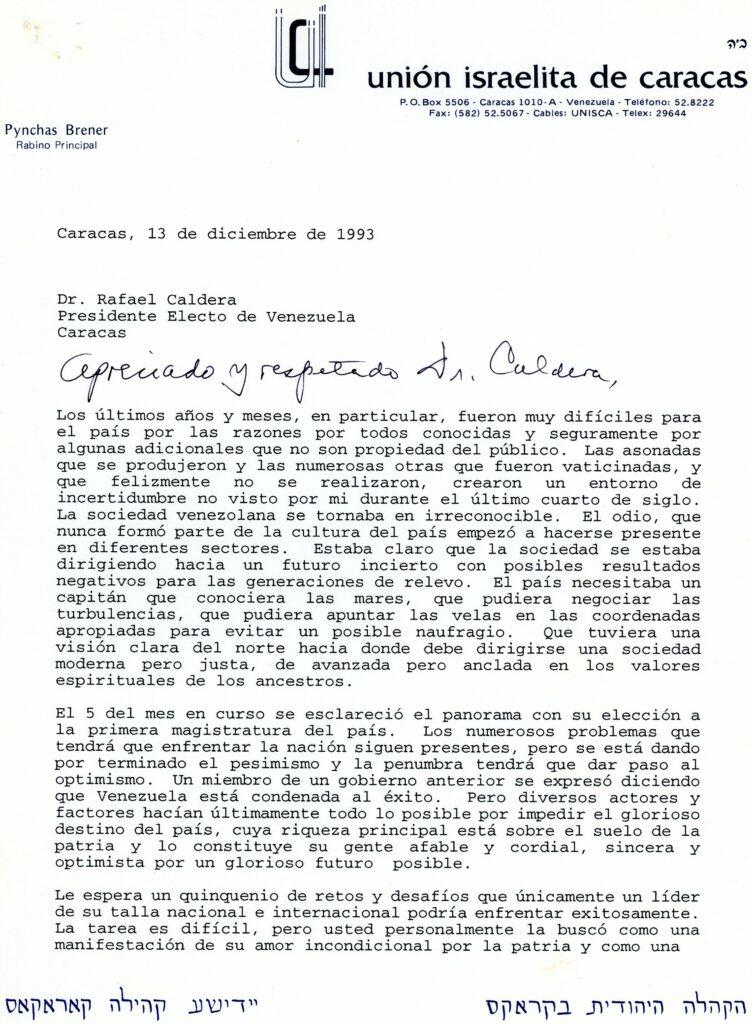 1993. Diciembre, 13. Carta de felicitación del rabino Pynchas Brener a Rafael Caldera
