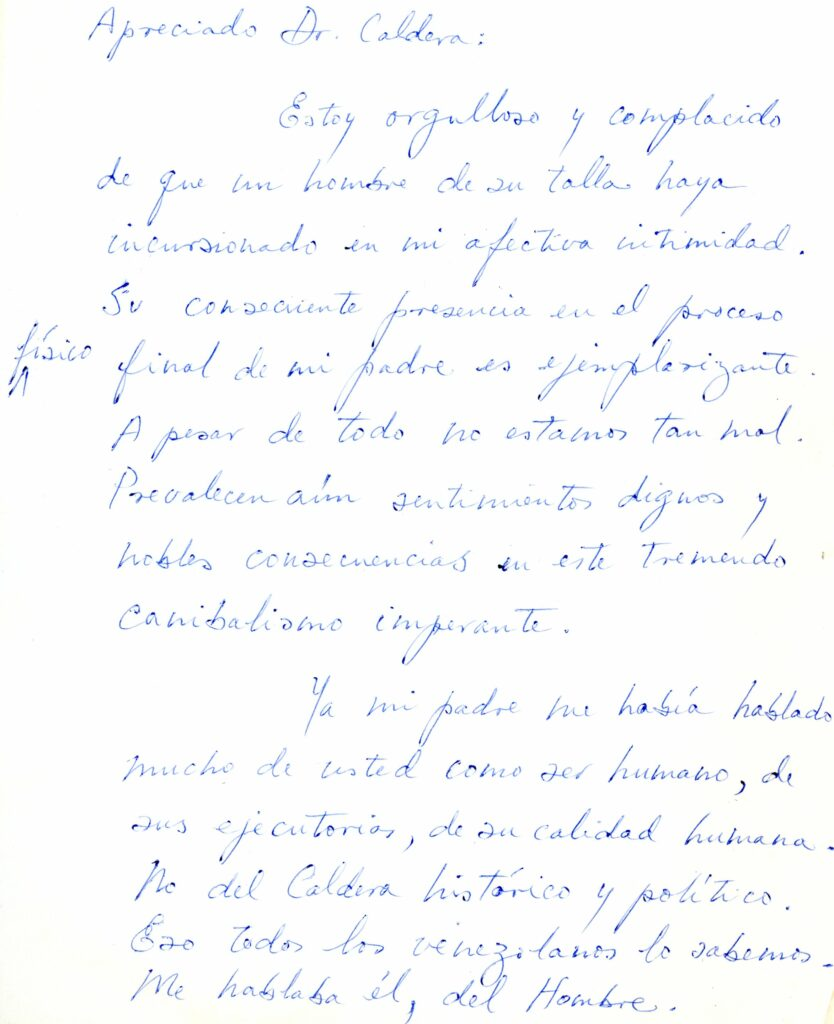 1985. Febrero, 15. Carta de Martín Pérez Guevara (hijo) a Rafael Caldera