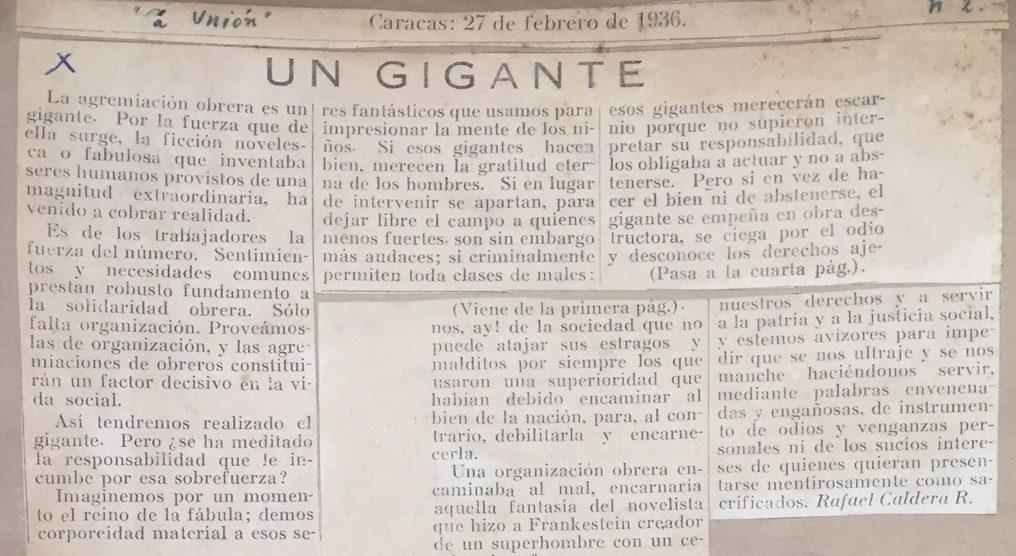1936. Febrero, 27. La Unión: Un Gigante