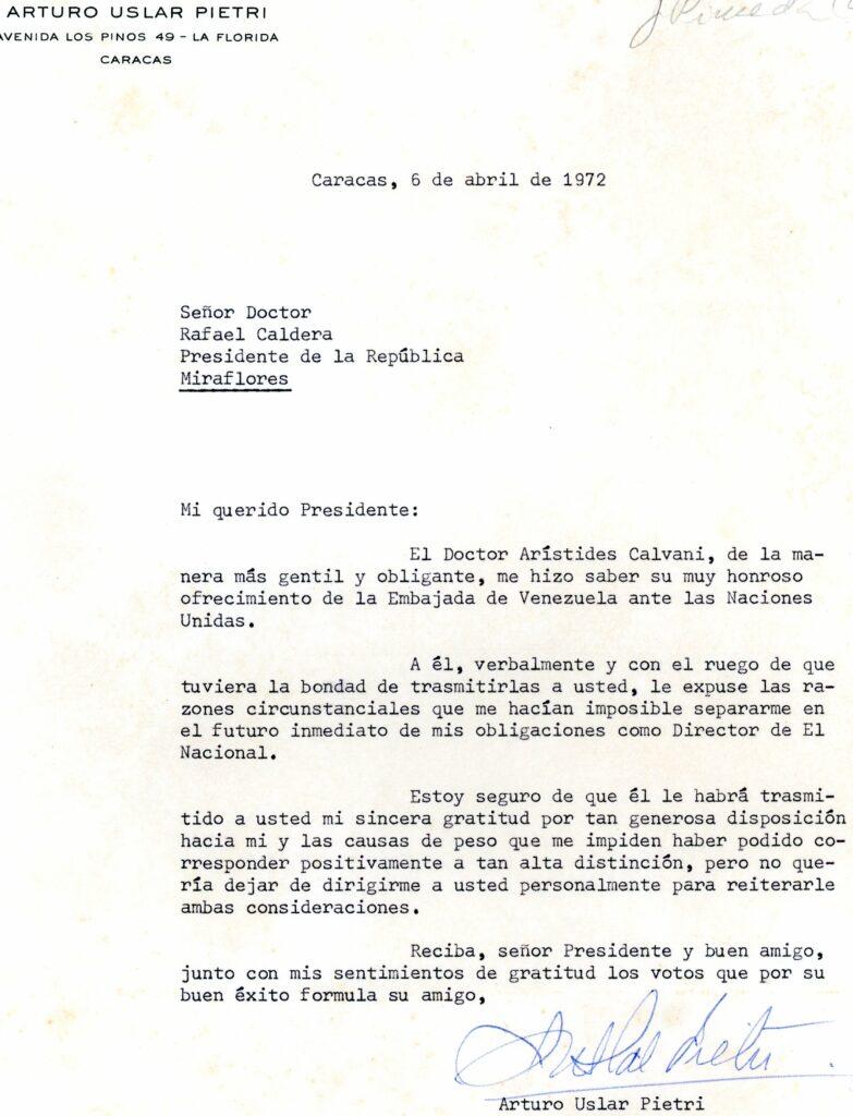 1972. Abril, 6. Carta de Arturo Uslar Pietri a Rafael Caldera