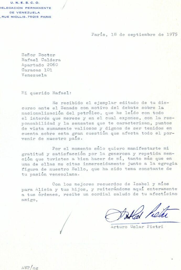 1975. Septiembre, 18. Carta de Arturo Uslar Pietri a Rafael Caldera desde París