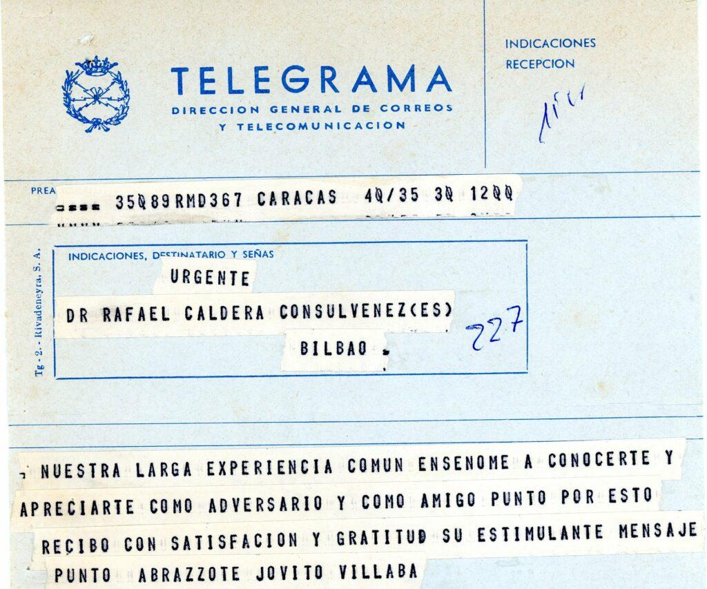 1978. Telegrama de respuesta de Jóvito Villalba a felicitación de Caldera