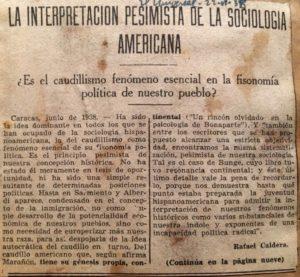 1938. Junio, 22. El Universal La interpretación pesimista de la sociología americana