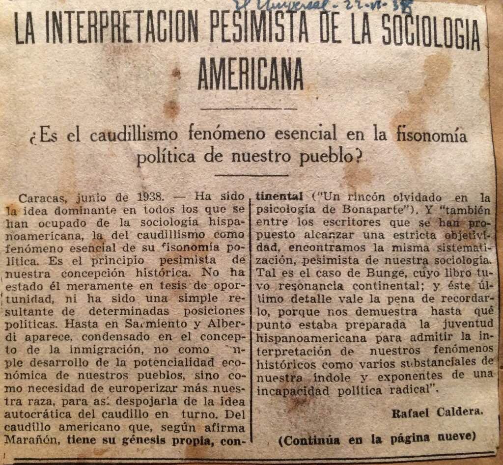 1938. Junio, 22. El Universal: La interpretación pesimista de la sociología americana