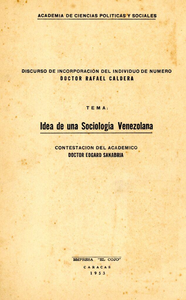 Idea de una sociología venezolana (1953)